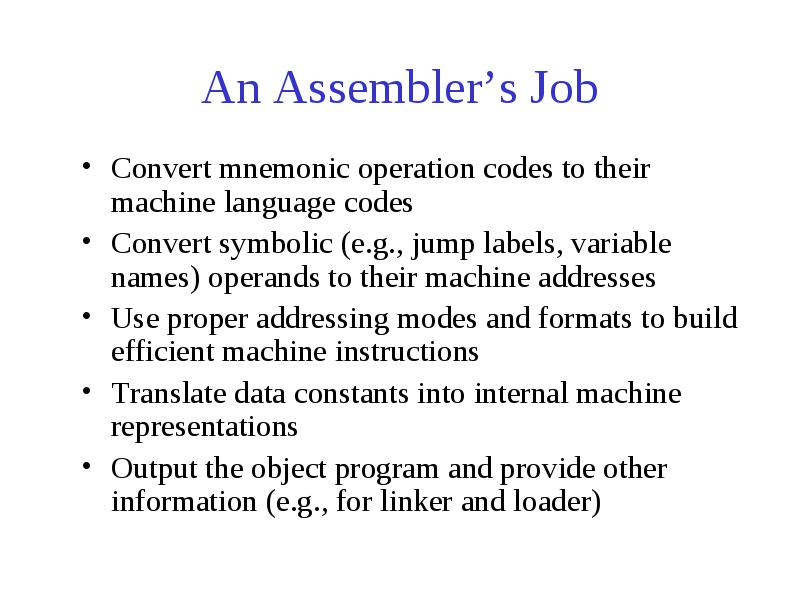 A Simple Two Pass Assembler Main Functions