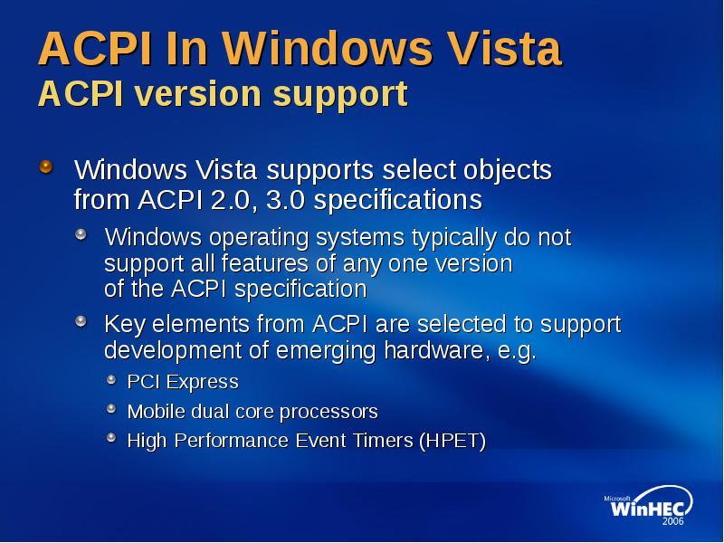 Agenda acpi support in Windows Vista