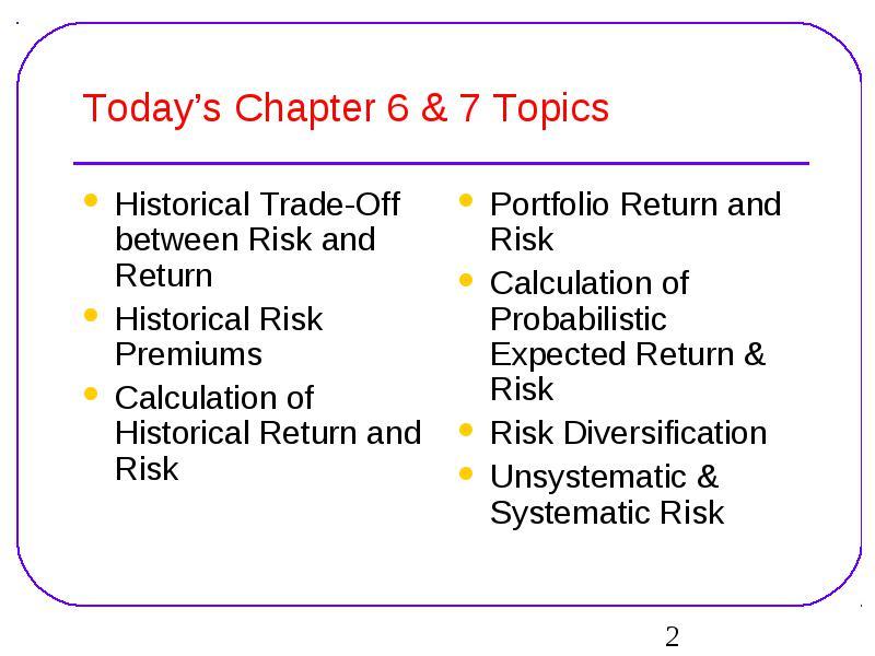 Chapter Trade Off Between Risk Return Chapter Risk Return
