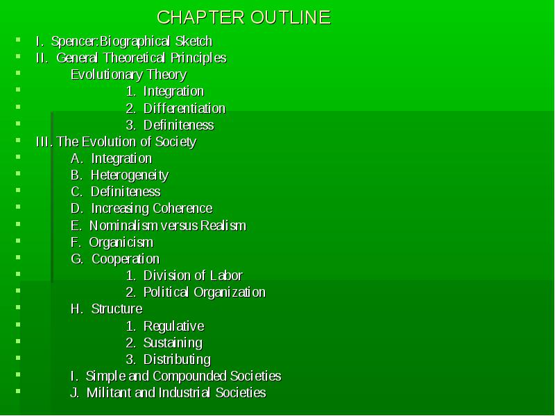 Chapter3: Herbert Spencer Main points a biographical Sketch