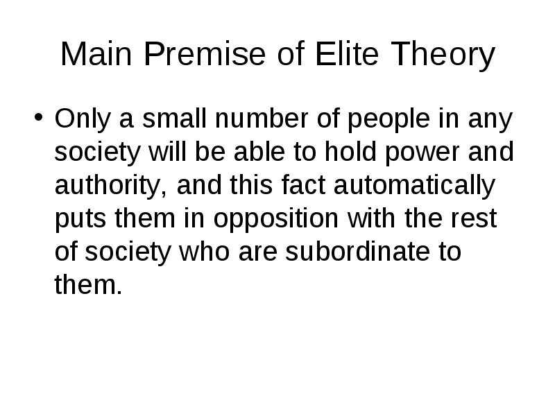 pareto elite theory