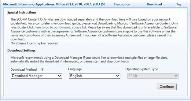 Downloading Microsoft Software Assurance e-learning Content Files