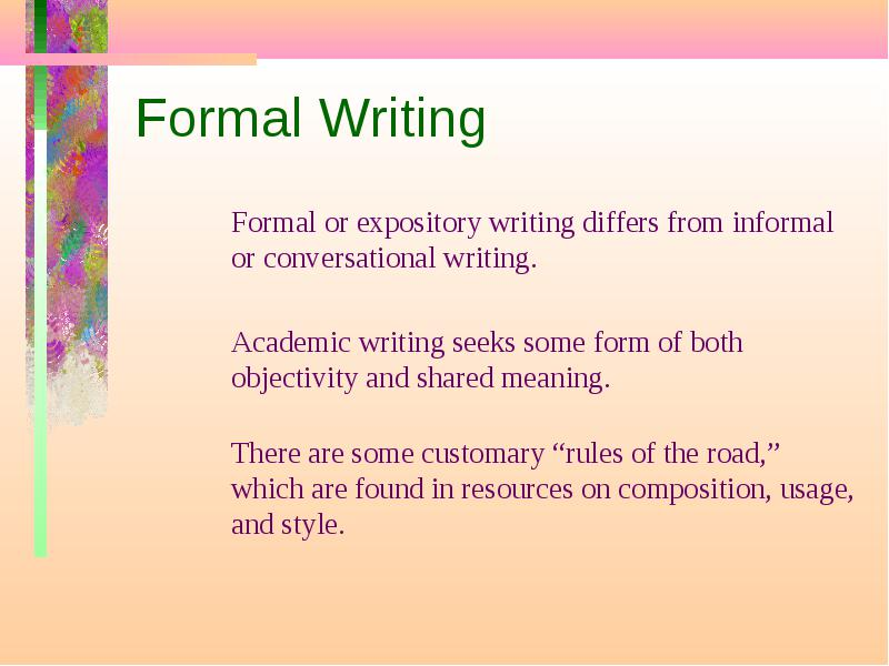 formal writing meaning