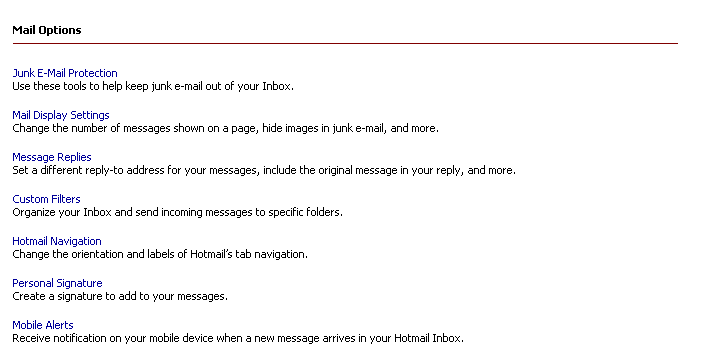 Junk Mail Settings in Hotmail & msn email Services