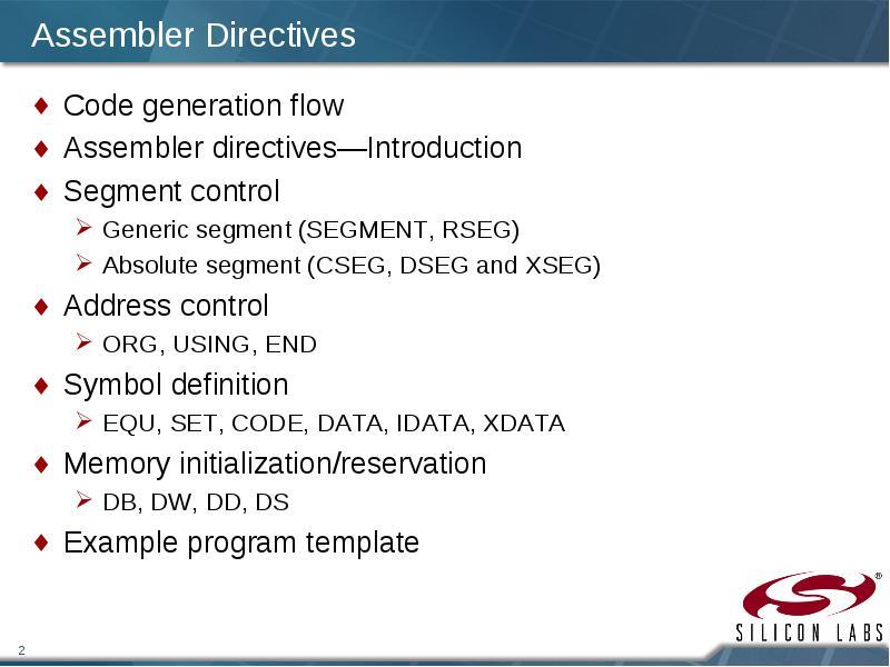 Lecture 6 Assembler Directives