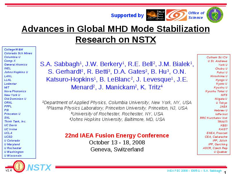Research advances to understanding mode stabilization physics and