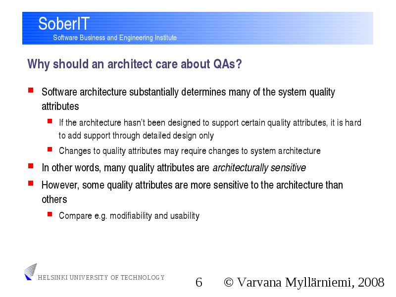 T 76 5150 Software Architectures Introduction To Quality Attributes