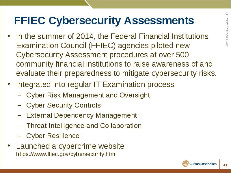 www ffiec gov Up To Date Cybersecurity and Fraud Risks