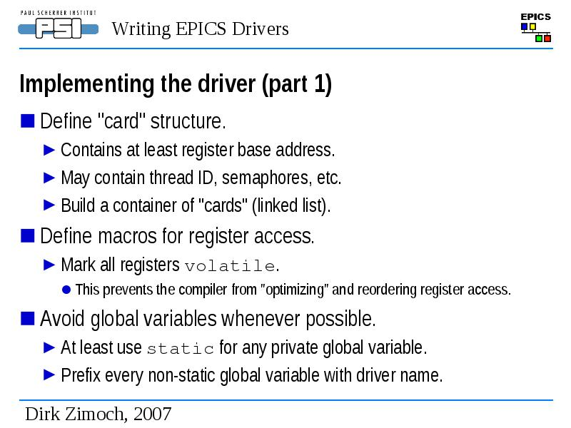 Writing epics drivers (and Device Support)