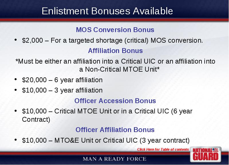Wvarng Bonuses And Incentives Guide Current As Of 13 November 2007
